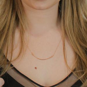Curved Bar Necklace Hand Hammered Rose Gold Filled